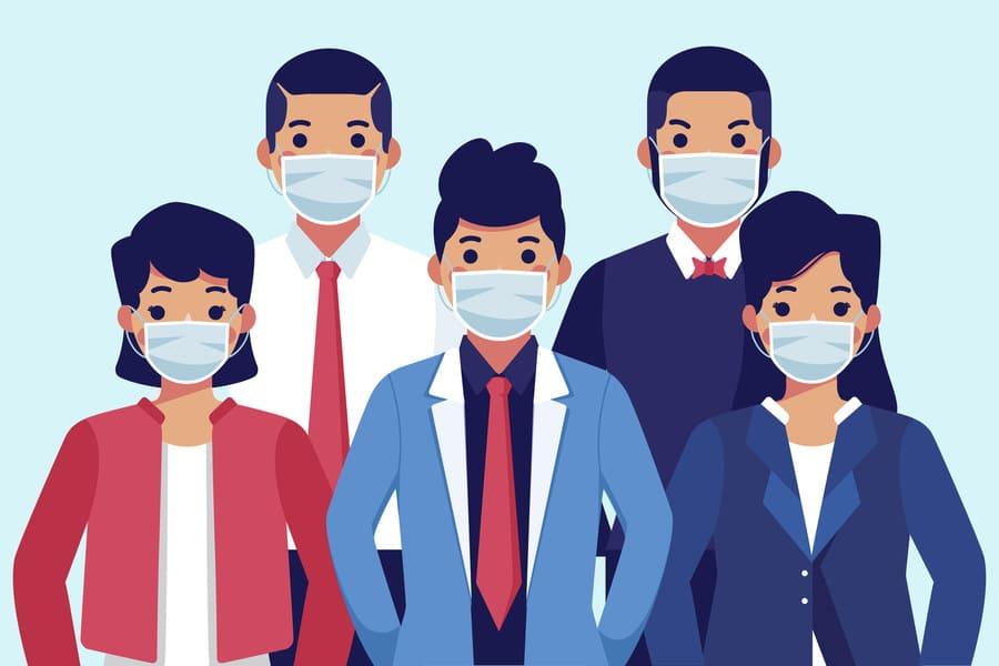 Personnes portant un masque